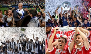 Clockwise from top left: Zinedine Zidane celebrates winning La Liga with his Real Madrid players; Monaco's Falcao and team-mates cherish their Ligue 1 triumph; Bayern Munich's Philipp Lahm and Xabi Alonso lift the Bundesliga trophy; and Juventus are jubilant after yet another Serie A win.