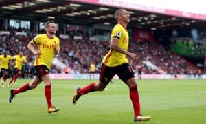 Richarlison celebrates after scoring Watford's opening goal at the Vitality Stadium.