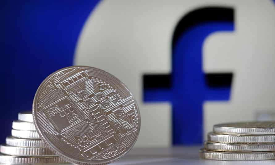 Coins next to the Facebook logo
