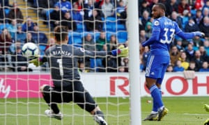 Junior Hoilett scores Cardiff's first goal against West Ham.