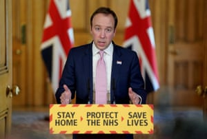 Matt Hancock answering questions from the media via a video link during a media briefing in Downing Street.