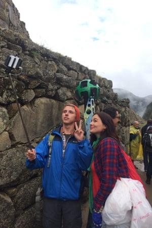 Taking a selfie with the Google Trekker at Machu Picchu, Peru