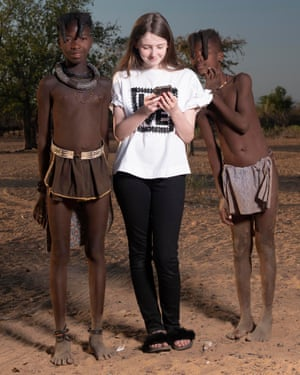 Scarlett Moffatt's sister Ava with Himba tribe children from Channel 4's The British Tribe Next Door.