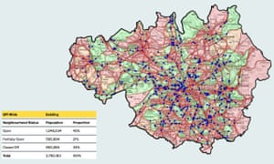 Beelines. Greater Manchester's cycling and walking infrastructure proposal - before