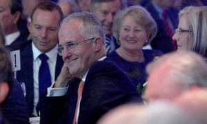 Tony Abbott and Malcolm Turnbull at a dinner celebrating the 20th anniversary of the Howard government