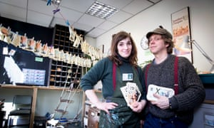 Money-makers … director Dan Edelstyn and artist Hilary Powell inside the bank they set up.