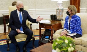 Joe Biden meets with Senator Shelley Moore Capito during an infrastructure meeting at the White House on 13 May.