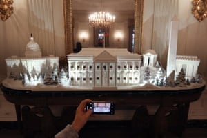 Gingerbread models of famous buildings on display in the White House