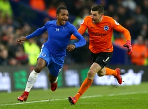 Brighton's Jose Izquierdo is chased by his keeper Mat Ryan as he celebrates scoring his side's second goal, helping Brighton beat West Ham United 3-1 at the Amex stadium.