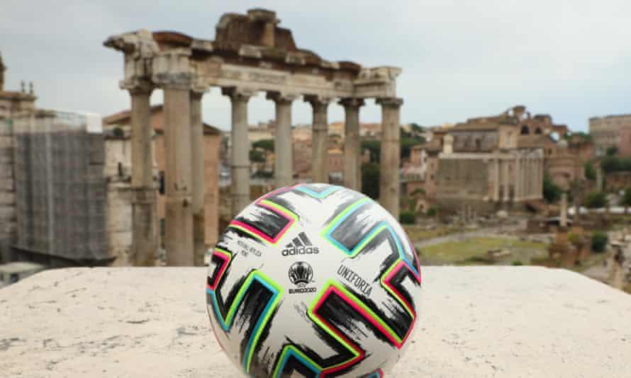 A Euro 2020 match ball in Rome