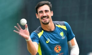 Mitchell Starc looking relaxed during a training session