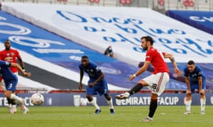 Bruno Fernandes scores their first goal from the penalty spot.