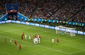 Cristiano Ronaldo scores with a sublime free-kick.