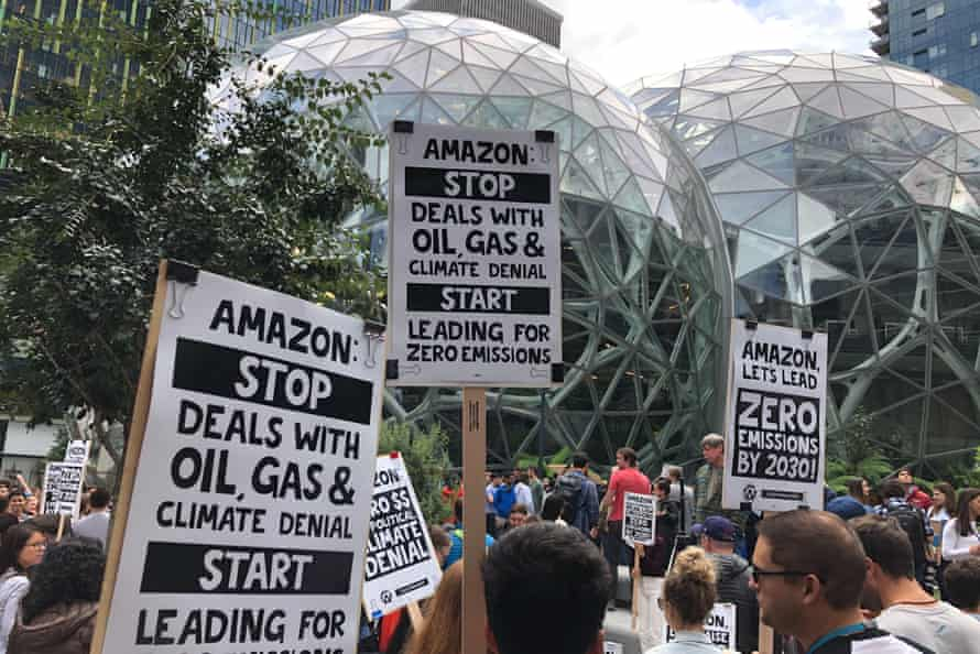 Amazon workers begin to gather in front of the company's headquarters during September's climate strike.