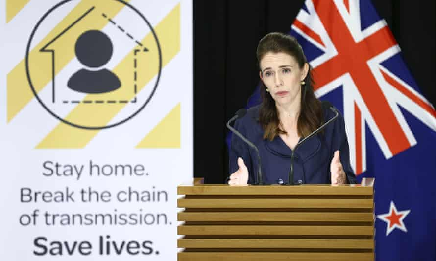 Jacinda Ardern delivers a briefing on Covid-19 on Sunday afternoon