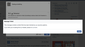 Facebook blocked BS Detector for security reasons