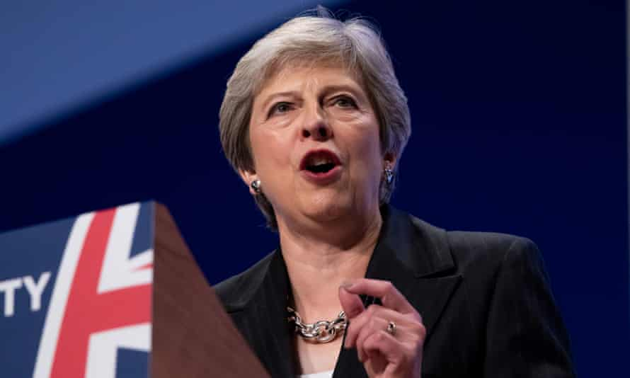 Theresa May delivers her keynote address to the Conservative conference.