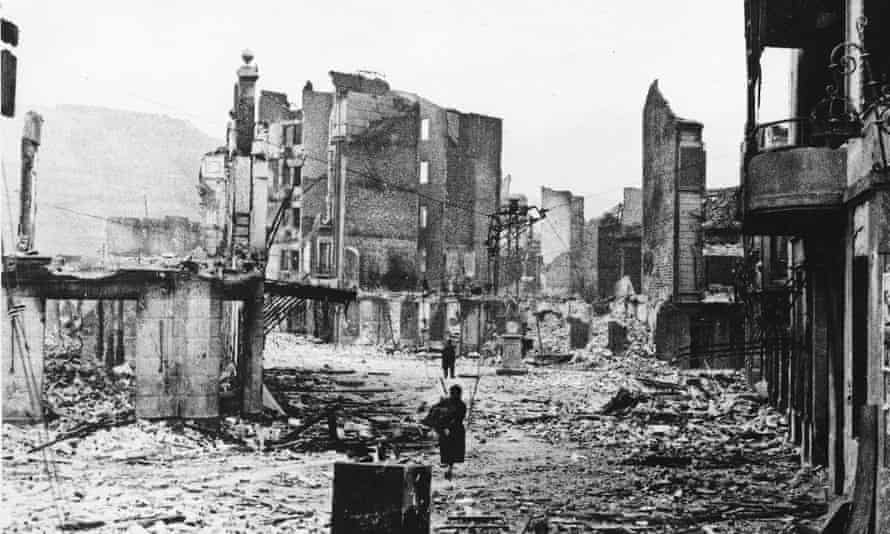 The ruins of Guernica in 1937 after the town was bombed by German aircraft.