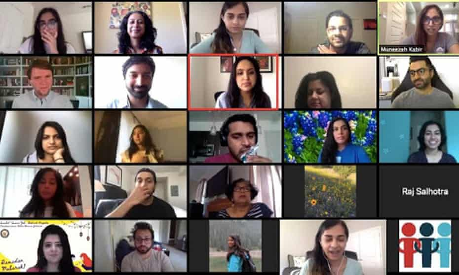 Volunteers with They See Blue hold a Zoom meeting featuring Aparna Shewakramani of the Netflix show Indian Matchmaking to encourage people to call south Asian voters in Texas.