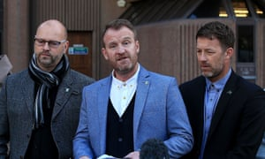 Three of Barry Bennell's victims – left to right, Chris Unsworth, Micky Fallon and Steve Walters – speak outside Liverpool crown court after the paedophile's conviction