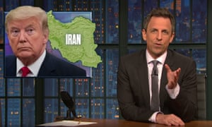 """Seth Meyers on Trump's claim of an imminent threat in Iran: """"If Donald Trump says, 'Trust me, the thing exists,' it definitely does not exist. He's like a magician who says he's going to pull a rabbit out of his hat, looks down, realizes the rabbit has chewed through the hat and escaped and says, 'Trust me, the rabbit's there.'"""""""