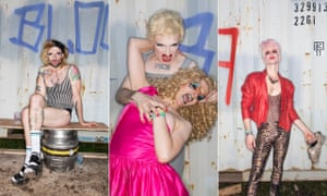 Drag Queens Joseph Wilson, Annie Pics with Lucy Fisk aka Lucy Fizz and Jonny Woo at Glastonbury