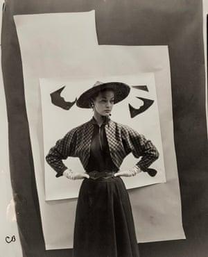 Jean Patchett Against Cutout Backdrop, For 'Vogue', 1949
