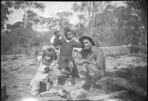 Mavis's husband, Huey Phillips, takes a break with two of his children. 'My father was a slaughterman who always worked very hard to provide for our large family and to help other Noongars get through hard times.'