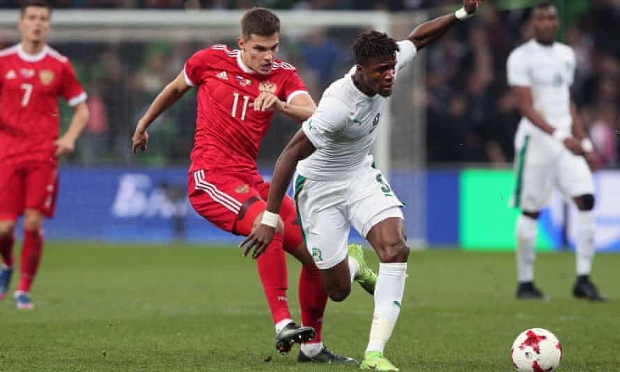 Wilfred Zaha in action for Ivory Coast against Russia last week.