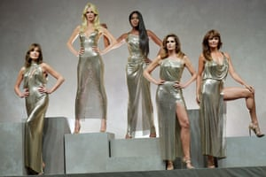 Carla Bruni, Claudia Schiffer, Naomi Campbell, Cindy Crawford and Helena Christensen; Versace, SS18
