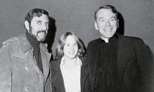 William Peter Blatty with The Exorcist actors Linda Blair and William O'Malley.