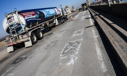 An 'X' marks a repair spot on the 101-year-old crumbling Hanover Street Bridge in Baltimore.
