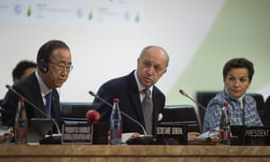 Ban Ki-Moon, Laurent Fabius and Christiana Figueres at COP 21