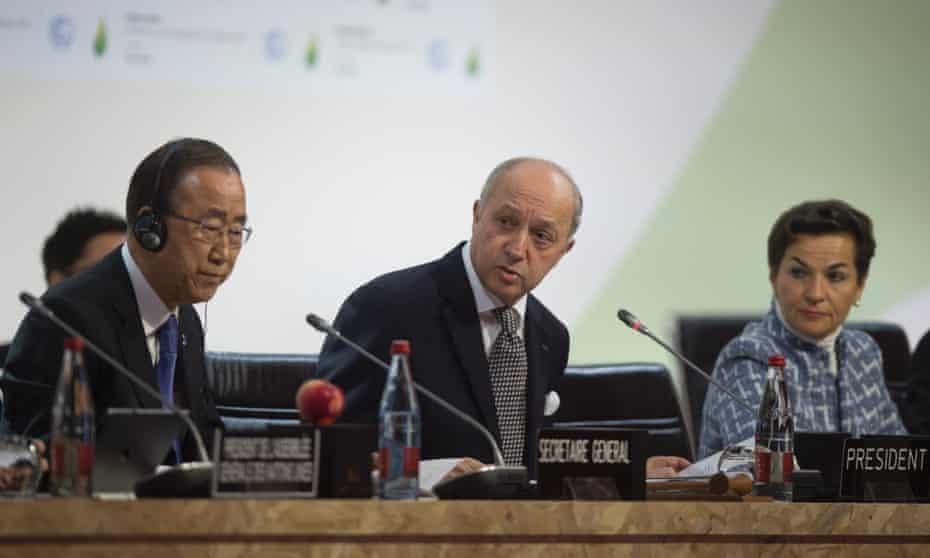 Ban Ki-Moon, Laurent Fabius and Christiana Figueres at COP 21