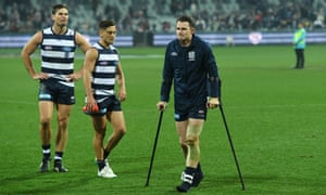 Patrick Dangerfield on crutches