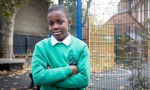 Daniel Adebeso, 9, attends Surrey Square Primary school in south London