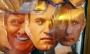 Masks of Donald Trump, Alexei Navalny and Vladimir Putin on sale in St Petersburg.