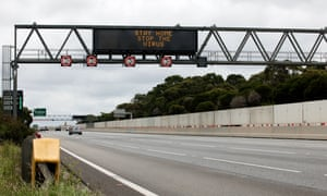 A digital road sign on the Monash Freeway tells Victorians to stay home during the five-day snap Covid lockdown in Victoria.