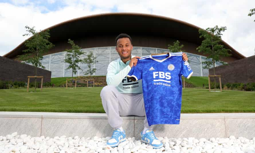 Ryan Bertrand is unveiled at Leicester's training ground.