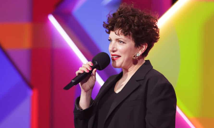 Annie Mac presents the award for best international female solo artist at the Brit awards 2021.