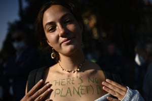 A woman takes part in a climate crisis protest in Turin, Italy.