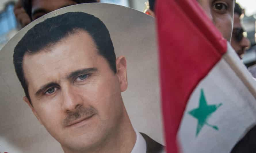 A rally in support of President Bashar al-Assad in Latakia, Syria.