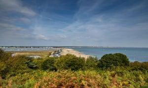 View from Hengistbury Head towards the beach huts