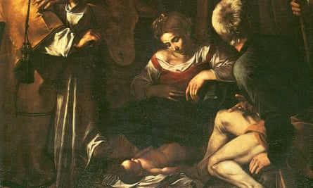 Detail from Nativity with St Francis and St Lawrence by Caravaggio.