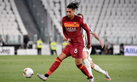 Chris Smalling in action against Juventus towards the end of the 2019-20 season.
