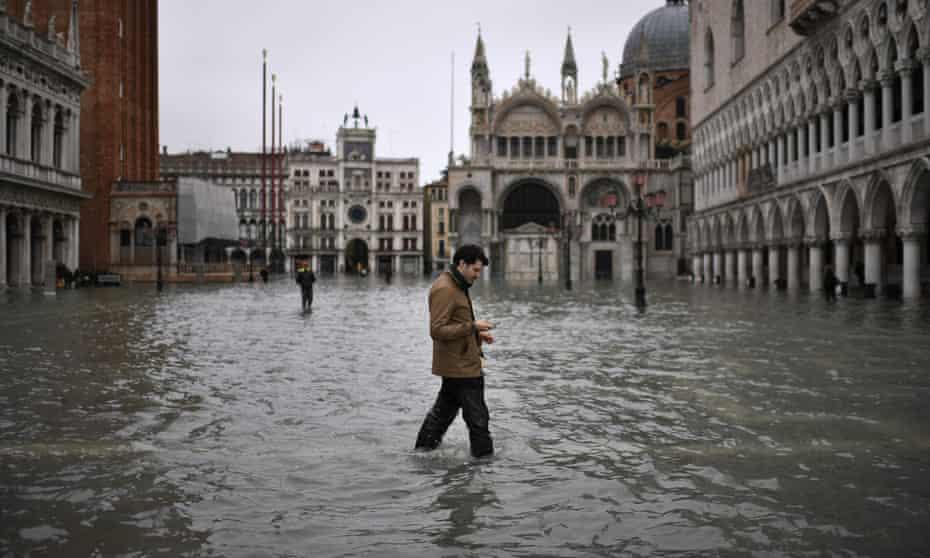 St Mark's square in Venice flooded on 13 November 2019.