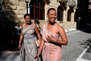 Stella Ndabeni-Abrahams, right, South Africa's communications and digital technologies minister, in a picture taken in February