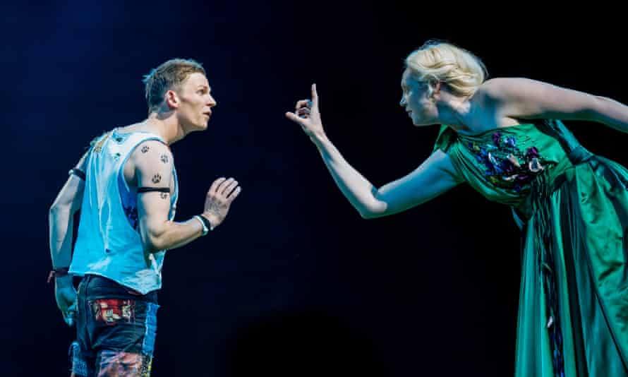 David Moorst (Puck) and Gwendoline Christie (Titania) in A Midsummer Night's Dream.