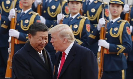 Donald Trump with Chinese president Xi Jinping during a welcome ceremony in Beijing. Trump visited five countries during his tour.