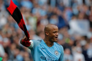 Manchester City's Vincent Kompany celebrates after the final whistle.
